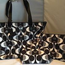 Coach Overnight /weekender Tote Black & White 3 Piece Handbag Set Photo
