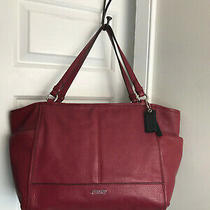 Coach Park Carrie Red Leather Tote Shoulder Handbag 23284 Purse Bag Photo