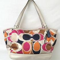Coach Park F23277 Signature Scarf Print Sateen & Leather Shoulder Bag Purse Photo