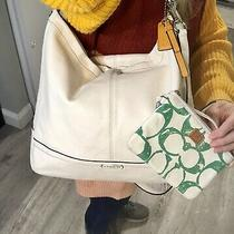 Coach Park Hobo White Leather Shoulder Crossbody Convertible Tote Bag Wristlet Photo