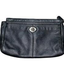 Coach Park Large Wristlet Bag Black Leather Turnlock Clutch Case Photo