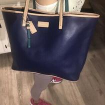 Coach Park Metro Blue Saffiano Leather Large Tote Bag Shopper Carryall F24341  Photo