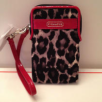 Coach Park Ocelot Print Universal Iphone Case Wristlet Black/multi  F66163 Nwt Photo