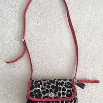 Coach Park Ocelot Print Violet Cross Body Bag With Red Leather Strap and Trim Photo