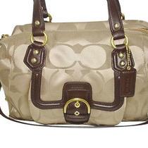 Coach Park Signature Campbell Satchel Khaki Mahogany Handbag F25292  Photo