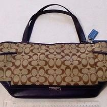 Coach Park Signature Fabric Carrie Tote Handbag. Khaki & Dark Purple F23297 Photo