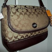 Coach Park Signature Flap Bag F23933 Retails 328 Khaki/mahogany Photo