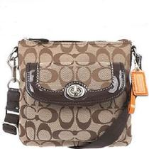 Coach Park Signature Swingpack Crossbody Bag F49148 Nwt Khaki/mahogany Photo