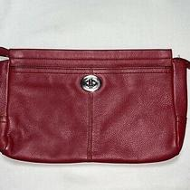 Coach Park Xl Large Red Leather Turnlock Clutch Case Pouch Photo