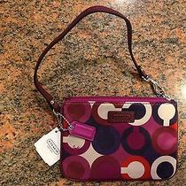 Coach Parker Art Print Wristlet - Bordeaux Multi Msrp58 No Reserve Photo