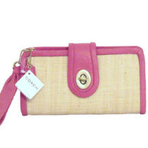 Coach Parker Bright Pink Leather Straw Clutch F42474 Purse Handbag Wristlet Nwt Photo