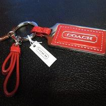 Coach Parker Hangtag Key Fob Key Ring Red Silver Nwt Photo