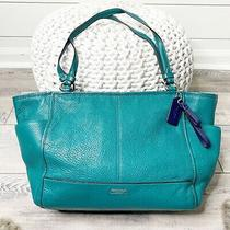 Coach Parker Leather Carrie Tote Bag Teal Green Carryall Double Handles Logo Tag Photo