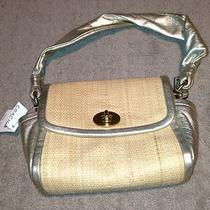 Coach Parker Leather Trimmed Straw Handbag-Metallic/gold Photo