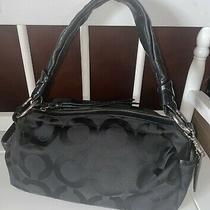 Coach Parker Op Art Zip 13439  Black Signature Canvas Shoulder Bag/purse Photo
