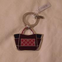 Coach Parker Purple/black/pink Colorblock Tote Key Ring Key Chain 66661 Nwt Photo