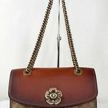 Coach Parker Signature Colorblock Canvas Leather Shoulder Bag Handbag Rust 30585 Photo