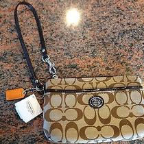 Coach Parker Signature Medium Wristlet -  Khaki/mahogany Photo