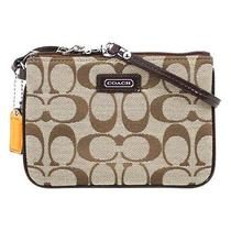 Coach Parker Signature Wristlet Case for Iphone 49471 Khaki Mahogany Photo
