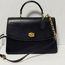 Coach Parker Top Handle C 32 Black Leather Satchel Shoulder Crossbody Bag 69519 Photo