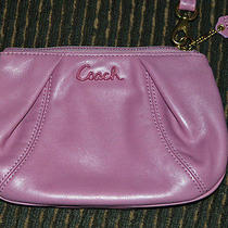 Coach Parker Violet Pleated Leather Wristlet Nwot Photo