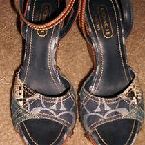 Coach Patchwork Denim Wedge Sandals 6 Photo