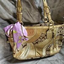 Coach  Patchwork Metallic Satchel Handbag 12740 With Accent Scarf  Photo