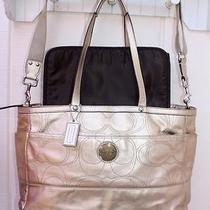 Coach Patent Leather Gold Brown Stitched Diaper Baby Bag Satchel Strap   F18878 Photo