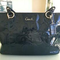 Coach Patent Leather Purse F17729 Zipper Close Blue Great Condition Photo