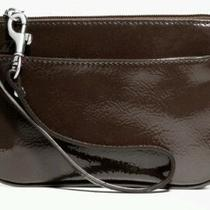 Coach Patent Leather Small Wristlet Dark Mahogany Brown 58  Nwt Photo