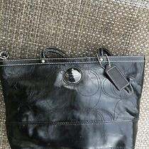 Coach Patent Leather Stitched C Tote Shoulder Bag Purse Black F15142 Photo