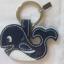Coach Patent Leather Whale Key Fob Keychain Ring Navy White 92500 Nwt Photo