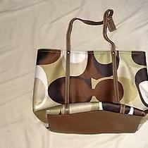 Coach Pattern Cloth and Leather Trim C0768-11116 Tote Handbag Photo