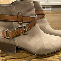Coach Pauline Ankle Boots Booties Suede Leather Buckle Zips Logo Taupe Size 8.5b Photo