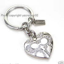 Coach Pave Signature C Heart Locket Keychain Key Ring Fob F92416 - New Photo