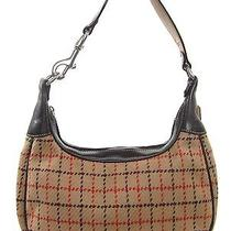 Coach Peachy Brown Wool Leather 9613 Tattersall Checker Plaid Print Hobo Purse  Photo