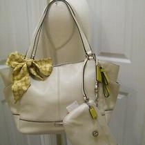 Coach Pearl White Large Carrie Tote With Matching Medium Wristlet and Pony Scarf Photo