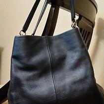 Coach Pebbeled Phoebe Shoulder Bag Metalic Blue Photo