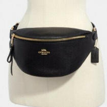 Coach Pebble Leather Belt Bag Fanny Pack in Black-F48738 New W/tags Ships Free Photo