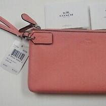 Coach Pebble Leather Double Zip Wallet Wristlet F54056 Pink Blush New With Tags  Photo