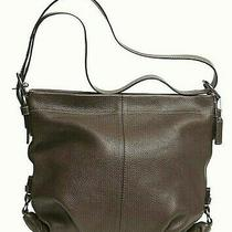 Coach Pebble Leather F15064 Brown Shoulder or Crossbody Bag Metal Hardware New Photo