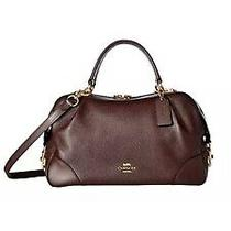 Coach Pebble Leather Lane Oxblood Brown Satchel Handbag Purse New Retail 395 Photo