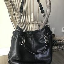 Coach Pebble Leather Shoulder Hobo Hand Bag Black/silver Photo