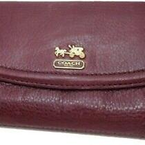 Coach Pebbled Leather Burgundy Pleated Wallet Photo