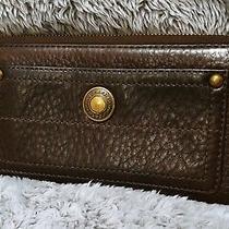 Coach Pebbled Leather Chelsea Accordion Wallet Dark Brown W/brass Hardware Photo