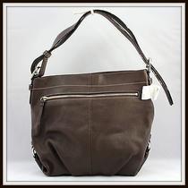 Coach Pebbled Leather Duffle Tote Handbag Shoulder Bag Mahogany F15064 Authentic Photo