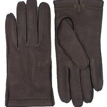 Coach Pebbled Leather Gloves Mahogany Brown Mens New Cashmere Lined Size S 80681 Photo