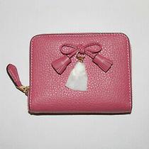 Coach Pebbled Leather Strawberry Tassel Zip Around Sm Wallet F63714 Nwt Photo