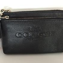 Coach Pebbled Soft Leather Double Crnr Zip Iphone Wristlet Waller Nwt F52556 Blk Photo