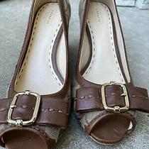Coach Peep Toe Wedge Shoes Size 8 Photo